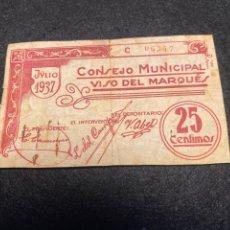 Billetes locales: VISO DEL MARQUES 25 CT CIUDAD REAL. Lote 292238543