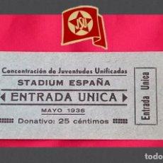 Billetes locales: JUVENTUDES SOCIALISTAS UNIFICADAS (JSU) MAYO 1936. Lote 293322483