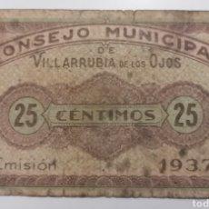Billetes locales: VILLARRUBIA DE LOS OJOS. CIUDAD REAL. CONSEJO MUNICIPAL 25 CÉNTIMOS. ESCASO. Lote 293963548
