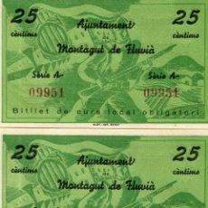 Banconote locali: PAREJA DE BILLETES DE 25 CENTIMOS AJUNTAMENT DE MANTAGUT DE FLUVIA ( BLO4 ). Lote 295714728