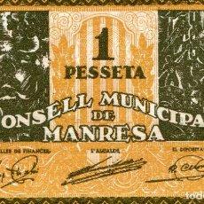 Banconote locali: UNA PESETA CONSELL MUNICIPAL DE MANRESA ( BLO10 ). Lote 295715543
