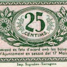 Banconote locali: 25 CENTIMOS AJUNTAMENT DE TARRAGONA ( BLO18 ). Lote 295716793