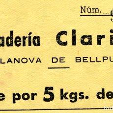 Banconote locali: VALE DE 5 KG. DE PAN . PANADERIA CLARISO . VILANOVA DE BELLPUIG ( BLO20 ). Lote 295717418