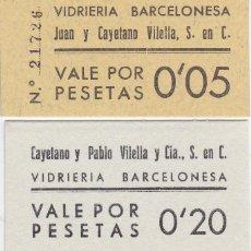 Billetes locales: LOTE DE 2 VALES DE VIDRIERIA BARCELONESA DE 5 Y 20 CENTIMOS NUEVOS SIN CIRCULAR (SC). Lote 296015953