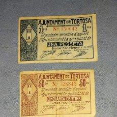 Billetes locales: 3 BILLETES DE 1 PESETA 50 CTS Y 25 CTS DEL AJUNTAMENT TORTOSA 9 NOVEMBRE DEL AÑO 1937 GUERRA CIVIL. Lote 296563473