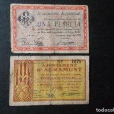 Billetes locales: BILLETES LOCALES DE AGRAMUNT 1937 VALORES 1 PESETA Y 50 CENTIMOS SEGUNDA REPUBLICA. Lote 297066698