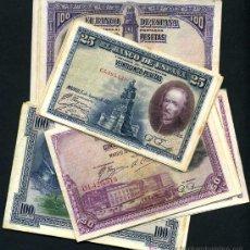 Lotes de Billetes: LOTE DE 40 BILLETES REPUBLICA MBC, 25 PESETAS ,50 , 100 PTAS DE 1928 Y 100 PTAS 1925 ,10 DE CADA ,RB. Lote 106915540