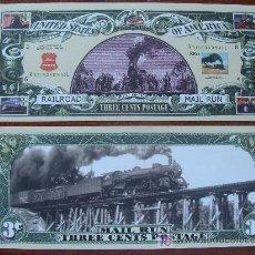 Lotes de Billetes: BILLETE EEUU CONMEMORATIVO. DÓLAR. FERROCARRIL DE CORREOS AMERICANO. DÓLARES. PERFECTO. . Lote 147480258