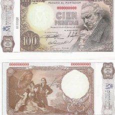Lotes de Billetes: 100 PESETAS - 19/02/1946- FACSIMIL IMPRESO POR LA REAL CASA DE LA MONEDA Y TIMBRE -. Lote 206508057
