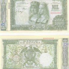 Lotes de Billetes: 1000 PESETAS - 29/11/1957- FACSIMIL IMPRESO POR LA REAL CASA DE LA MONEDA Y TIMBRE -. Lote 206508347