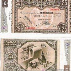Lotes de Billetes: 25 PESETAS - 01/01/1937 - FACSIMIL IMPRESO POR LA REAL CASA DE LA MONEDA Y TIMBRE -. Lote 206507940