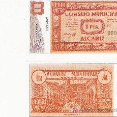 Lotes de Billetes: 1 PESETA - CONSELL MUNICIPAL DE ALCAÑIZ - FACSIMIL IMPRESO POR LA REAL CASA DE LA MONEDA Y TIMBRE -. Lote 206507511