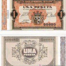 Lotes de Billetes: 1 PESETA - CONSELL MUNICIPAL DE CASPE - FACSIMIL IMPRESO POR LA REAL CASA DE LA MONEDA Y TIMBRE -. Lote 206507991