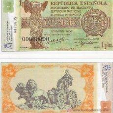 Lotes de Billetes: 1 PESETA - REPUBLICA ESPAÑOLA - FACSIMIL IMPRESO POR LA REAL CASA DE LA MONEDA Y TIMBRE -. Lote 206508138