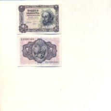 Lotes de Billetes: PAREJA CORRELATIVA 2 BILLETES 1 PESETA EMISION 19-11-1951 (QUIJOTE) PLANCHA. Lote 26905649