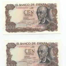 Lotes de Billetes: 100 PESETAS 1970 SC TRIO CORRELATIVO. Lote 26893593