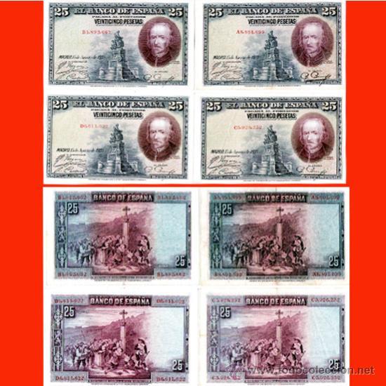 ALFONSO XIII.-25 PTS.MADRID 15 AGOSTO 1928. SERIE A, B, C Y D (4 BILLETES) EN MBC+ (Numismatik - Notaphilie - Serien und Sets)
