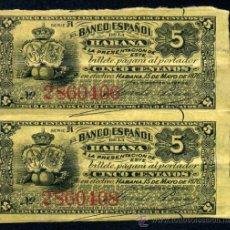 Lotes de Billetes: CUBA - PAREJA DE 5 CENTAVOS 1876 - BANCO ESPAÑOL DE LA HABANA (EPOCA COLONIAL ESPAÑOLA) . Lote 33106782