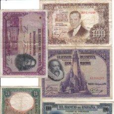 Lotes de Billetes: LOTE DE 5 BILLETES CIRCULADOS DE ESPAÑA 25 100 50 PESETAS DIVERSOS AÑOS,1931,1928,1925,1953. Lote 37250403