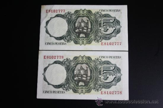 LOTE DE 2 BILLETES DE 5 PESETAS DE 1951 CORRELATIVOS. SERIE E (Numismática - Notafilia - Series y Lotes)