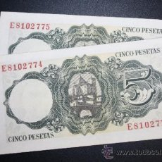 Lotes de Billetes: LOTE DE 2 BILLETES DE 5 PESETAS DE 1951 CORRELATIVOS. SERIE E. Lote 38219461