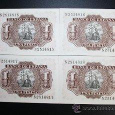 Lotes de Billetes: LOTE DE 4 BILLETES DE 1 PESETA DE 1953. SERIE N. LOS 4 EN ESTADO PLANCHA. Lote 38219749