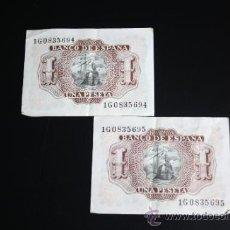 Lotes de Billetes: LOTE DE 2 BILLETES DE 1 PESETA DE 1953 CORRELATIVOS. SERIE 1G. EN . Lote 38219770