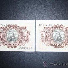Lotes de Billetes: LOTE DE 2 BILLETES DE 1 PESETA DE 1953 CORRELATIVOS. SERIE B. ESTADO PLANCHA. Lote 38219785