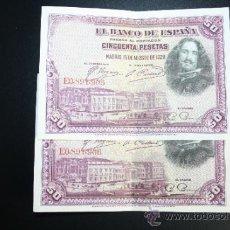 Lotes de Billetes: LOTE DE 2 BILLETES DE 50 PESETAS DE 1928 CORRELATIVOS. SERIE B. EN . Lote 38219810