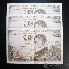 Lotes de Billetes: LOTE DE 3 BILLETES DE 100 PESETAS DE 1965 CORRELATIVOS. SERIE 1D. . Lote 38219854