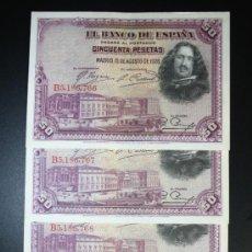 Lotes de Billetes: LOTE DE 4 BILLETES DE 50 PESETAS DE 1928 CORRELATIVOS. SERIE B. CASI PLANCHA. Lote 38219880