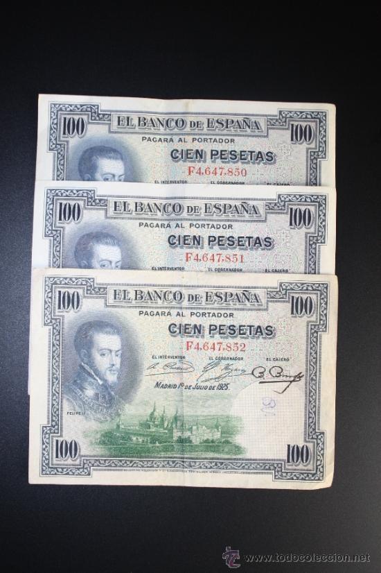 LOTE DE 3 BILLETES DE 100 PESETAS DE 1925. SERIE F. (Numismática - Notafilia - Series y Lotes)