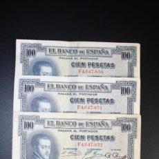 Lotes de Billetes: LOTE DE 3 BILLETES DE 100 PESETAS DE 1925. SERIE F. . Lote 38219905