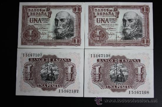 Lotes de Billetes: LOTE DE 4 BILLETES DE 1 PESETA DE 1953. SERIE I. LOS 4 EN ESTADO PLANCHA - Foto 2 - 38219671