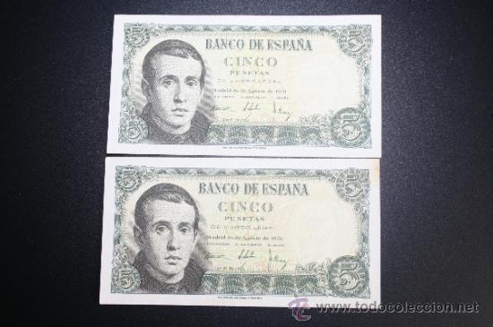 Lotes de Billetes: LOTE DE 2 BILLETES DE 5 PESETAS DE 1951 CORRELATIVOS. SERIE E - Foto 2 - 38219461
