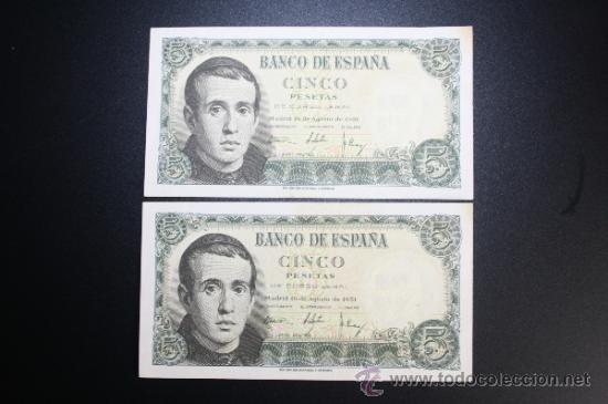 Lotes de Billetes: LOTE DE 2 BILLETES DE 5 PESETAS DE 1951 CORRELATIVOS. SERIE E - Foto 2 - 38219440
