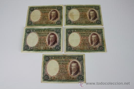 LOTE DE 5 BILLETES DE 25 PESETAS DE 1931 --- SIN SERIE --- USADOS (Numismática - Notafilia - Series y Lotes)