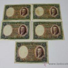 Lotes de Billetes: LOTE DE 5 BILLETES DE 25 PESETAS DE 1931 --- SIN SERIE --- USADOS. Lote 38233199