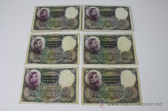 LOTE DE 20 BILLETES DE 50 PESETAS DE 1931 --- SIN SERIE --- ALGUNOS EN ESTADO PLANCHA (Numismática - Notafilia - Series y Lotes)