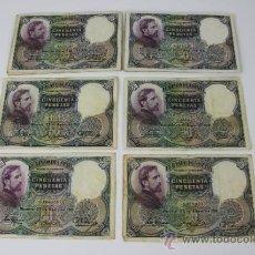 Lotes de Billetes: LOTE DE 20 BILLETES DE 50 PESETAS DE 1931 --- SIN SERIE --- ALGUNOS EN ESTADO PLANCHA. Lote 38233370