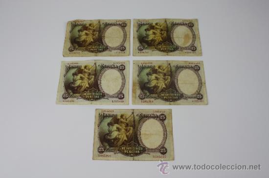 Lotes de Billetes: LOTE DE 5 BILLETES DE 25 PESETAS DE 1931 --- SIN SERIE --- USADOS - Foto 2 - 38233199
