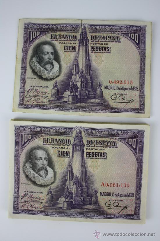 LOTE DE 19 BILLETES DE 100 PESETAS DE 1928 - 2 SIN SERIE - EL RESTO SERIE A - (Numismática - Notafilia - Series y Lotes)