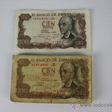 Lotes de Billetes: LOTE DE 18 BILLETES DE 100 PESETAS DE 1970 - DIFERENTES SERIES Y CONSERVACIONES - UNO PLANCHA. Lote 38327600