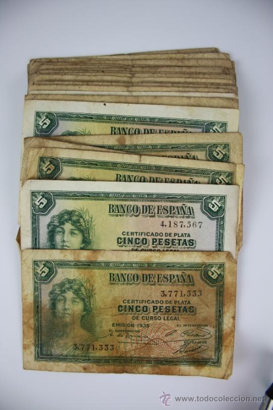 LOTE DE 105 BILLETES DE 5 PESETAS DE 1935 - DIVERSAS SERIES Y CONSERVACIONES - ALGUNOS SIN SERIE (Numismática - Notafilia - Series y Lotes)