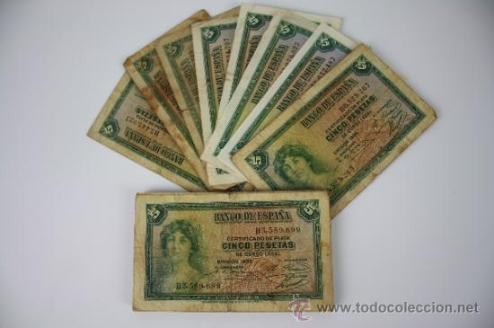 Lotes de Billetes: LOTE DE 105 BILLETES DE 5 PESETAS DE 1935 - DIVERSAS SERIES Y CONSERVACIONES - ALGUNOS SIN SERIE - Foto 4 - 38328217
