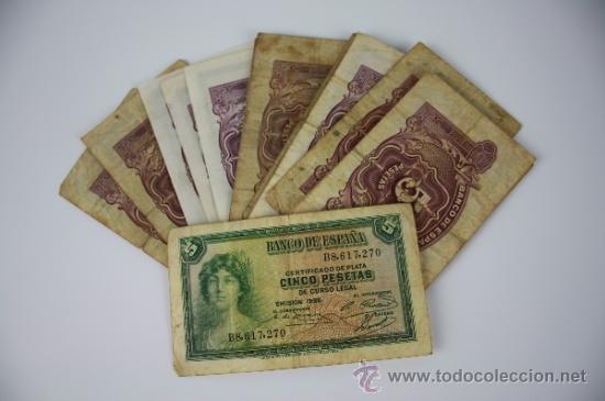Lotes de Billetes: LOTE DE 105 BILLETES DE 5 PESETAS DE 1935 - DIVERSAS SERIES Y CONSERVACIONES - ALGUNOS SIN SERIE - Foto 5 - 38328217