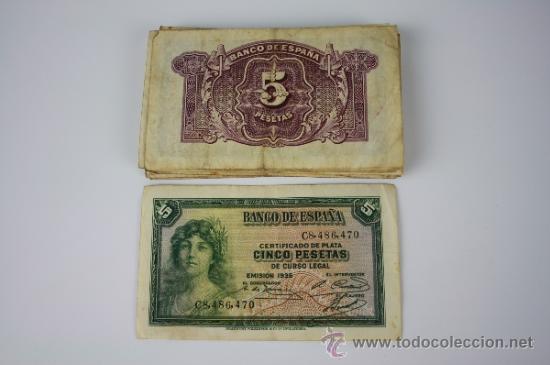 Lotes de Billetes: LOTE DE 105 BILLETES DE 5 PESETAS DE 1935 - DIVERSAS SERIES Y CONSERVACIONES - ALGUNOS SIN SERIE - Foto 6 - 38328217