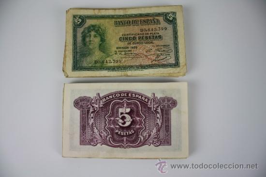 Lotes de Billetes: LOTE DE 105 BILLETES DE 5 PESETAS DE 1935 - DIVERSAS SERIES Y CONSERVACIONES - ALGUNOS SIN SERIE - Foto 8 - 38328217