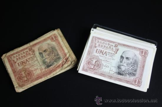 LOTE DE 57 BILLETES DE 1 PESETA DE 1953 - DIVERSAS SERIES Y CONSERVACIONES (Numismática - Notafilia - Series y Lotes)