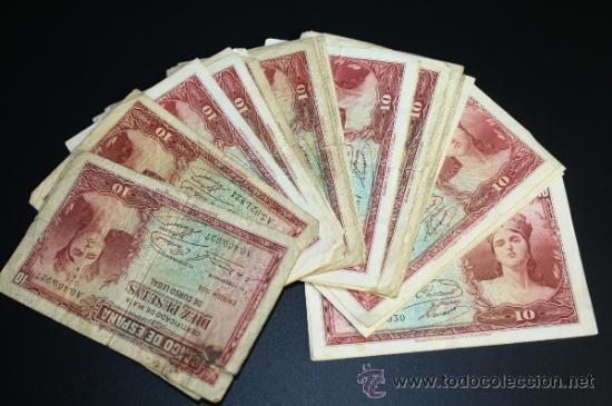 LOTE DE 54 BILLETES DE 10 PESETAS DE 1935 - REPÚBLICA - 23 SIN SERIE - DIVERSAS CONSERVACIONES (Numismática - Notafilia - Series y Lotes)